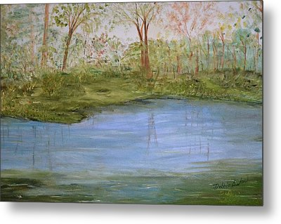 Metal Print featuring the painting The Pond by Debbie Baker