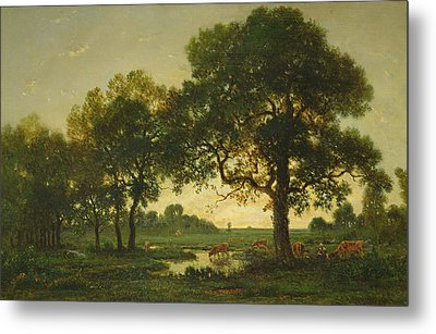 The Pond Oaks Metal Print by Theodore Rousseau