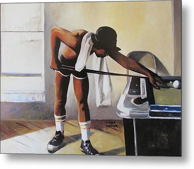 Metal Print featuring the painting The Pool Player by Linda Novick