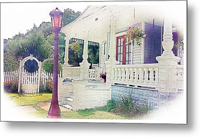 The Porch Lamp Post And The Gate Metal Print by Becky Lupe