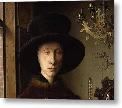 The Portrait Of Giovanni ? Arnolfini And His Wife Giovanna Cenami ? The Arnolfini Marriage 1434 Oil Metal Print by Jan van Eyck