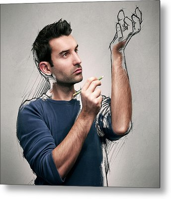 The Power Of The Sketch Metal Print by Sebastien Del Grosso