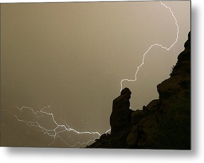 The Praying Monk Lightning Strike Metal Print