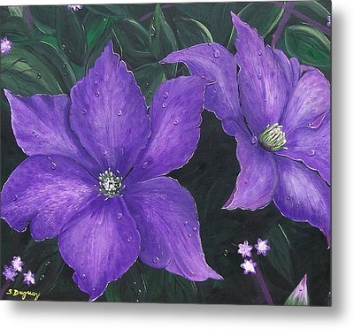 Metal Print featuring the painting The President Clematis by Sharon Duguay