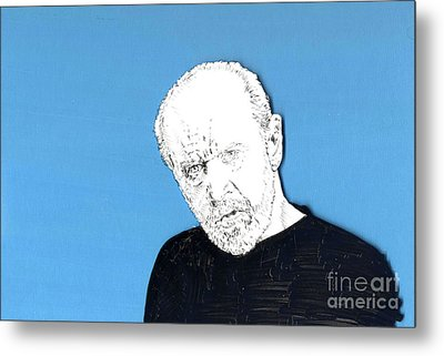 Metal Print featuring the mixed media The Priest On Blue by Jason Tricktop Matthews