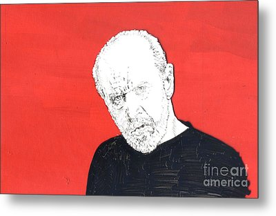 Metal Print featuring the mixed media The Priest On Red by Jason Tricktop Matthews