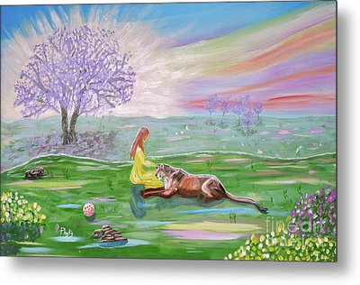 The Princess And Her Lion Metal Print by Phyllis Kaltenbach