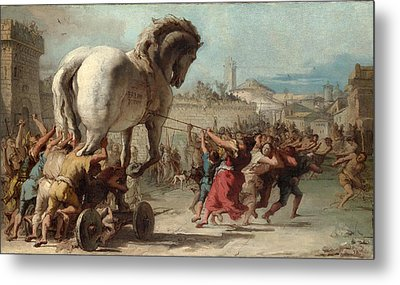 The Procession Of The Trojan Horse Into Troy Metal Print