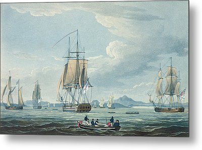 The Prometheus And The Melpomene In The Gulf Of Riga Metal Print by Thomas Whitcombe