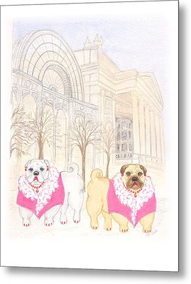 Metal Print featuring the painting The Pugsleys A Night At The Opera by Stephanie Grant