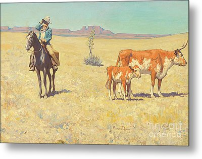 The Puzzled Cowboy Metal Print by Celestial Images