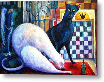 The Queen And The Knight. Chess Of Love  Metal Print by Elisheva Nesis