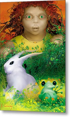 The Rabbit And The Frog Metal Print by Robert Conway