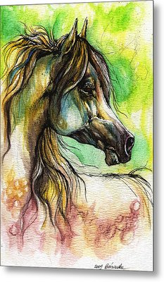 The Rainbow Colored Arabian Horse Metal Print by Angel  Tarantella
