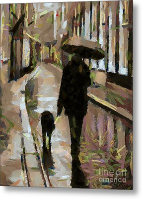 The Rainy Walk Metal Print
