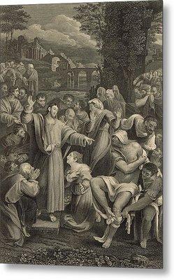The Raising Of Lazarus 1886 Engraving Metal Print by Antique Engravings