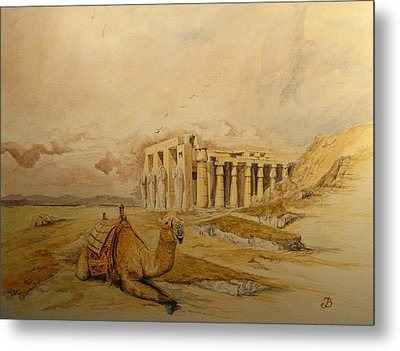 The Ramesseum Theban Necropolis Egypt Metal Print by Juan  Bosco