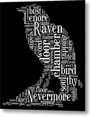 The Raven By Edgar Allan Poe Word Cloud Metal Print by Philip Ralley