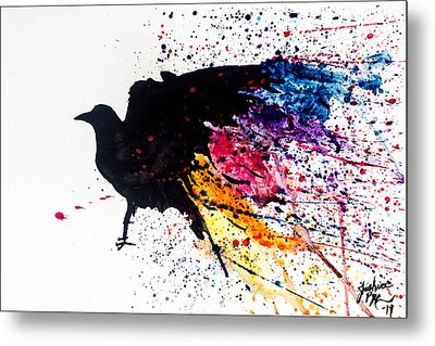 Metal Print featuring the painting The Raven by Joshua Minso