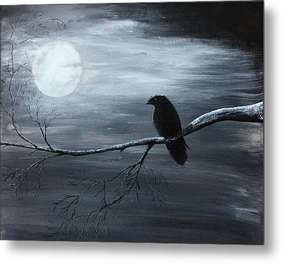 The Raven Piece 2 Of 2 Metal Print by Gray  Artus