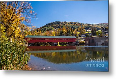 The Rebuilt Taftsville Covered Bridge Metal Print by New England Photography