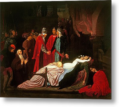 The Reconciliation Of The Montagues And The Capulets Over The Dead Bodies Of Romeo And Juliet Oil Metal Print