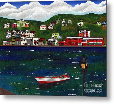 The Red And White Fishing Boat Carenage Grenada Metal Print