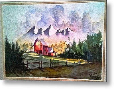 The Red Barn Angry Sky Sold Metal Print