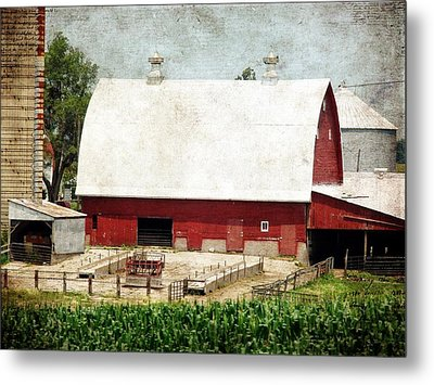 The Red Barn Metal Print by Cassie Peters