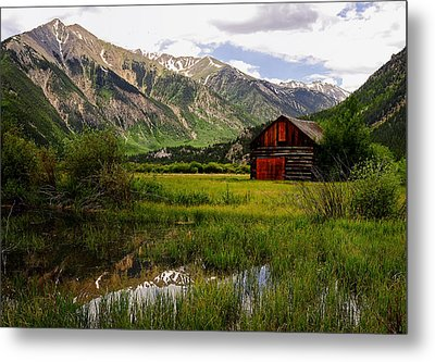 The Red Barn Door Metal Print