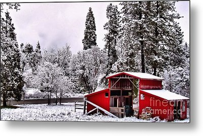 The Red Barn Metal Print