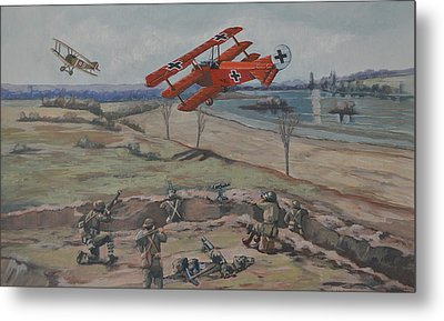 Metal Print featuring the painting The Red Baron's Last Combat by Murray McLeod