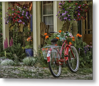 The Red Bike Metal Print