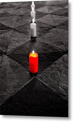 Metal Print featuring the photograph The Red Candle by Marwan Khoury