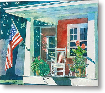 The Red Cottage Metal Print by LeAnne Sowa