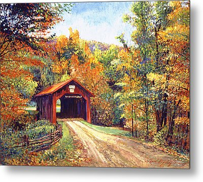 The Red Covered Bridge Metal Print