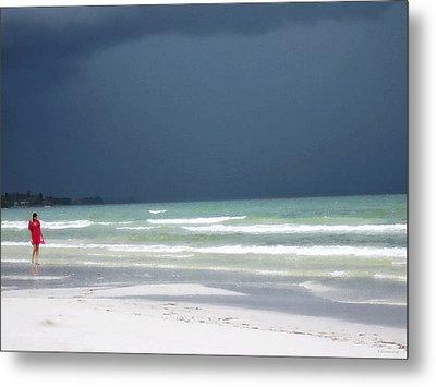The Red Dress - Beach Art By Sharon Cummings Metal Print by Sharon Cummings