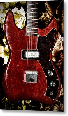 The Red Guitar Blues Metal Print by Bill Cannon