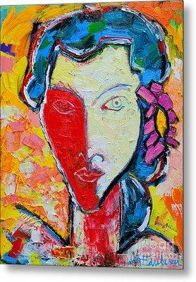 The Red Half Expressionist Girl Portrait  Metal Print by Ana Maria Edulescu