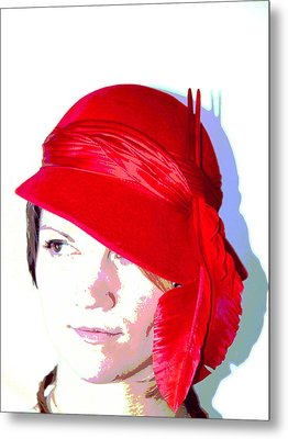 The Red Hat II Metal Print by  Andrea Lazar