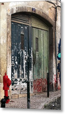 The Red Hydrant Metal Print by John Rizzuto