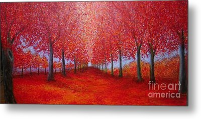 The Red Maples Alley Metal Print by Marie-Line Vasseur