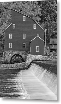 The Red Mill At Clinton Bw Metal Print