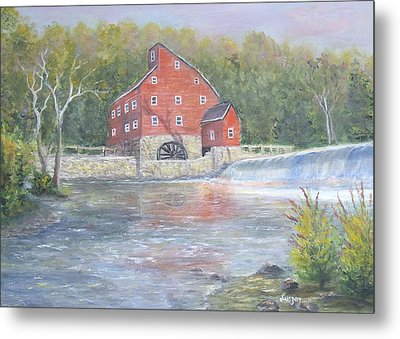 Metal Print featuring the painting The Red Mill by  Luczay