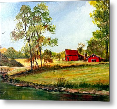 Metal Print featuring the painting The Red Roof Farm by Dorothy Maier