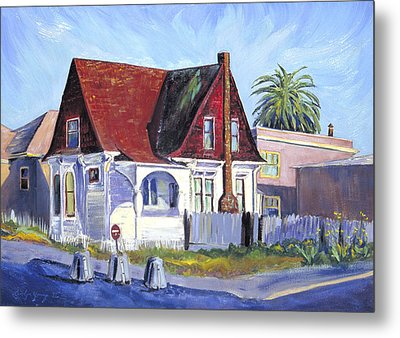 Metal Print featuring the painting The Red Roof House by Asha Carolyn Young