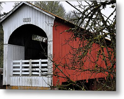 The Red Sided Covered Bridge Metal Print