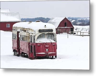 The Red Streetcar Metal Print by Nick Mares