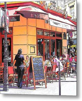 The Restaurant On The Corner Paris Metal Print by Jan Matson