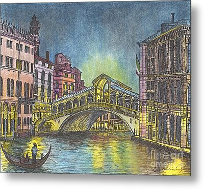 Relections Of Light And The Rialto Bridge An Evening In Venice  Metal Print by Carol Wisniewski